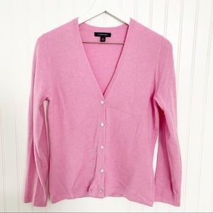 LANDS END 100% cashmere v-neck button front cardigan sweater pink size small 6-8